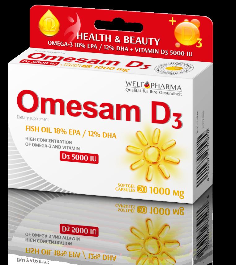 Omesam 1000 mg Omega 18% EPA/ 12 % DHA + D3 5000 IU